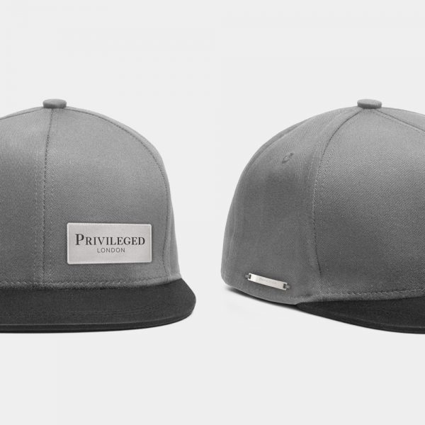 Privileged London Snapback Cap Black and Grey