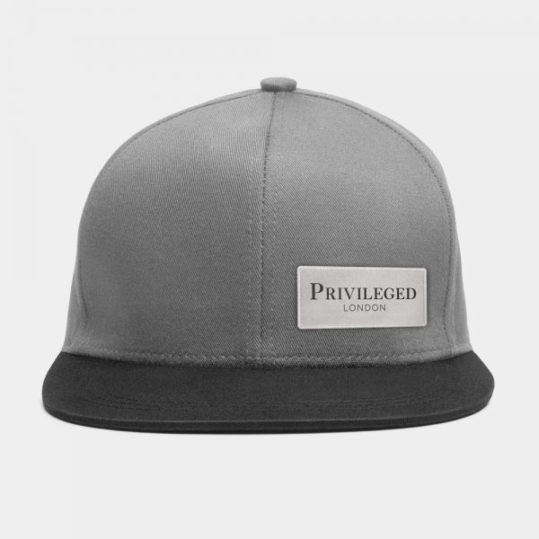 Privileged London Snapback Cap Black and Grey Front
